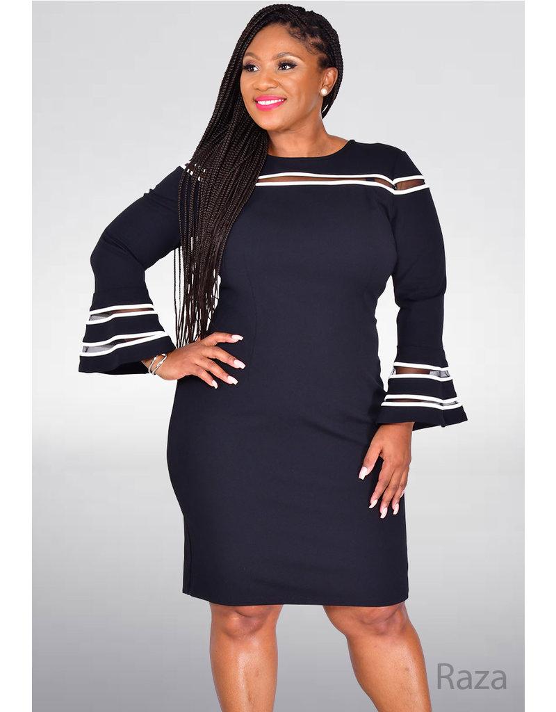 RAZA- Contrast Trim Bell Sleeve Dress