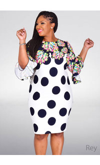 REY- Contrast Print Bell Sleeve Dress