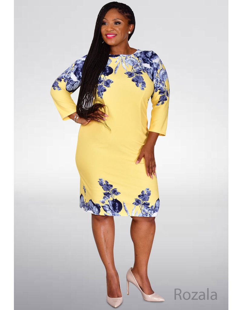 ROZALA- Placement Print 3/4 Sleeve Dress