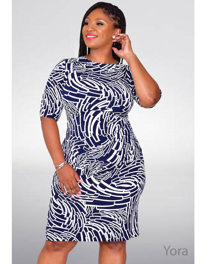 YORA- Geometric Faux Wrap Dress