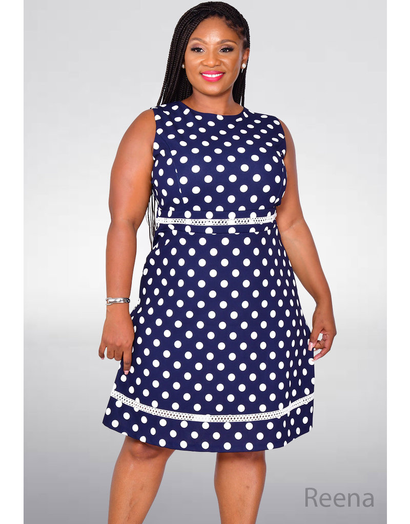 REENA- Sleeveless Polka Dot Fit and Flare Dress