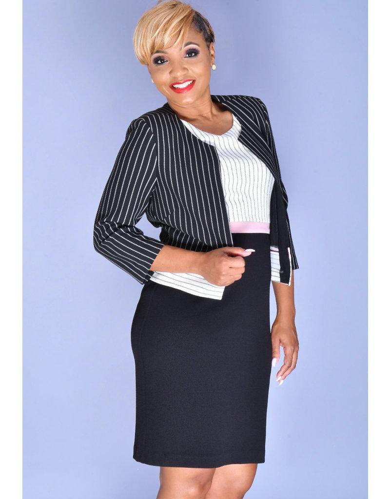 Studio 1 ERIN- 3 Tone Dress with Pin Stripe 3/4 Sleeve Jacket