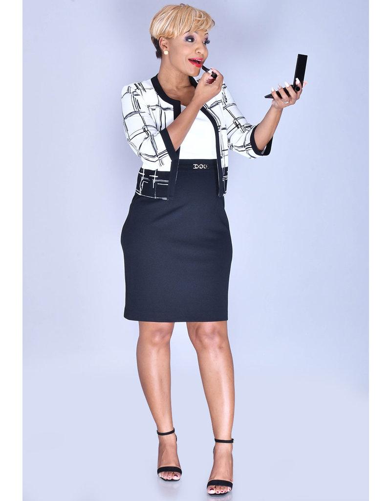 Studio 1 BRIELLE- Dress with 3/4 Geo Print Jacket