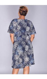 Sandra Darren ISSIE- Fit & Flare Puff Print Dress with Split Sleeve