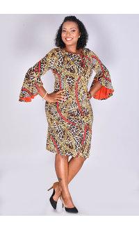 Shelby & Palmer IBBIE- Chain Print 3/4 Bell Sleeve Dress