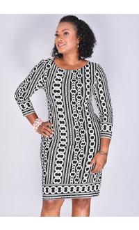IRIDA- Chain Print 3/4 Sleeve Dress