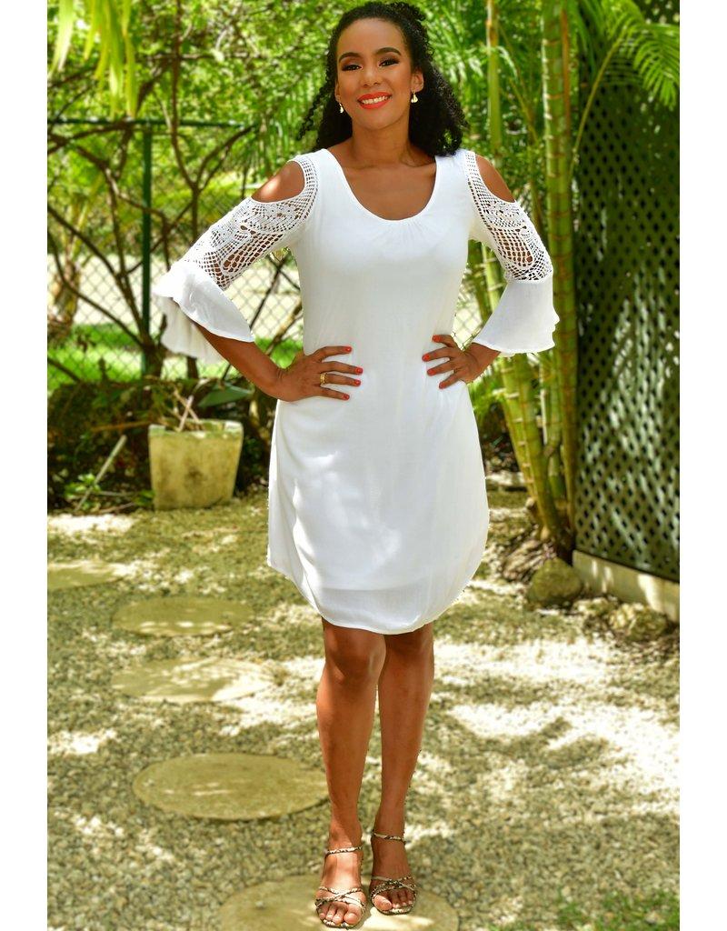 Nina Leonard KENNA- Cold Shoulder Dress With Crochet Trims