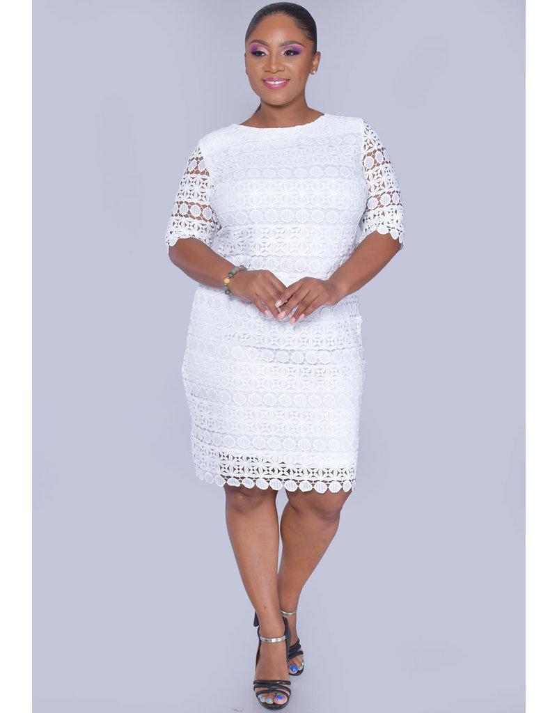 Sandra Darren CALI- Floral Cut Out Short Sleeve Dress