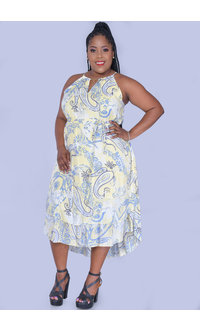 MLLE Gabrielle GAYE- Plus Size Printed Halter Dress with Chain Accent