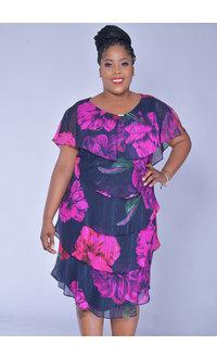 FELICIDAD-Plus Size Floral Print Shutter Dress