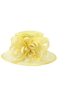 Loop Feathered Medium Brim Sinamay Hat