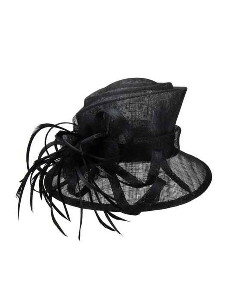 Small Brim Feather Loop Sinamay Hat