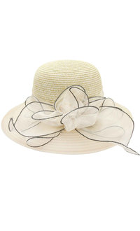 Paper Braid Floppy Hat with Bow