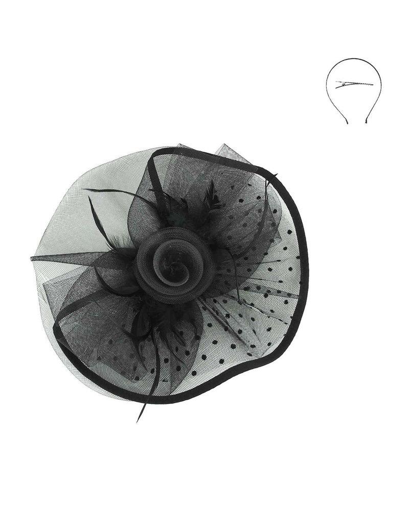 Dot Rose Double Veil Fascinator