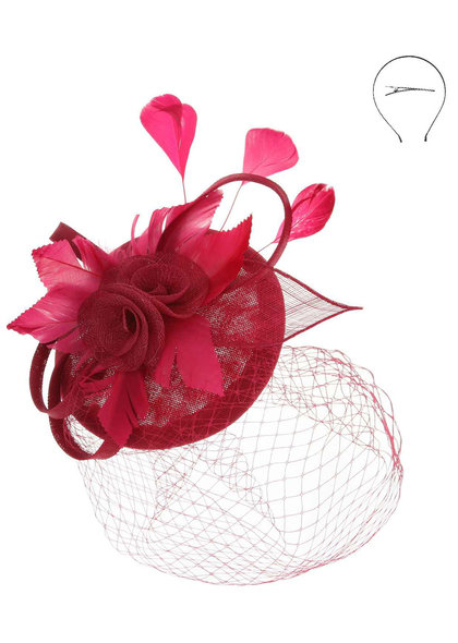 Sinamay Rose Feather Bow Fascinator