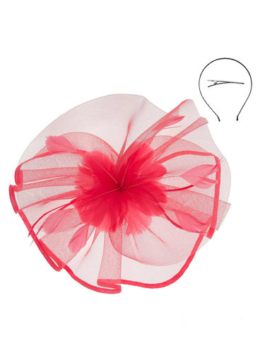 Floral Center With Satin Trim Mesh Fascinator