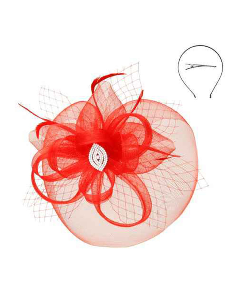 Gem Mesh Floral Feather Fascinator