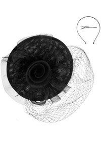 Round Netted Veil Rose Fascinator