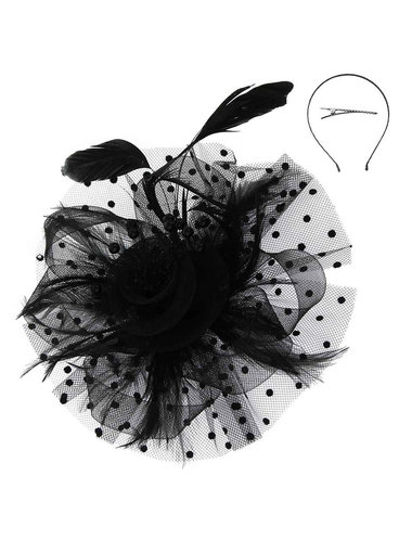 Mesh Floral Feather with Dotted Ruffle