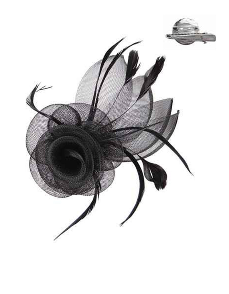 Feathered Mesh Flower with Rose