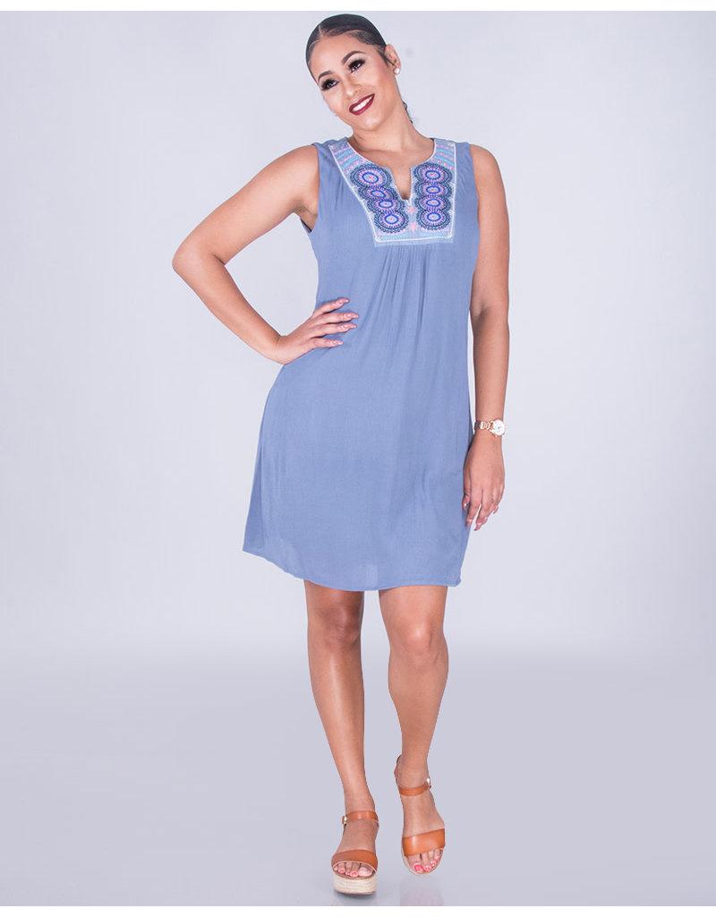 KAYLEIGH- Split V-Neck Embroidered  Dress