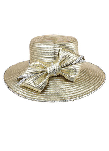 Big Bow Rhinestone Trim Braid Hat