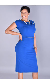 IDORINA-Short Sleeve Sheath Dress with Gold Studs