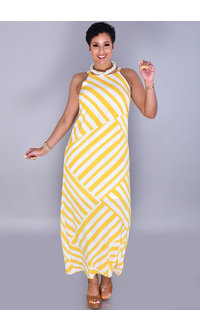 RITULA-Long Stripe Dress with Spaghetti Straps