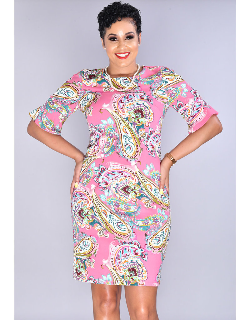 ROMONA-Paisley Print Shift Dress with Buttons on Sleeves