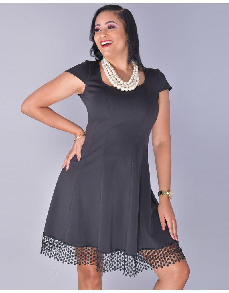 UDAVINA- Cap Sleeve Dress with Laser Cut Trim