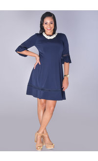 Jessica Howard YALINDA- Trumpet Sleeve Dress with Crochet Accent