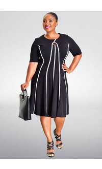 Shelby & Palmer RACCINE-Contrast Trim Short Sleeve Dress