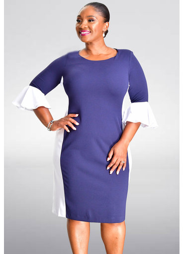 Shelby & Palmer RISHAN- Contrast Three Quarter Sleeve Dress