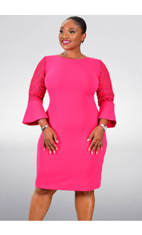 Shelby & Palmer REMY- Lace 3/4 Bell Sleeved Dress