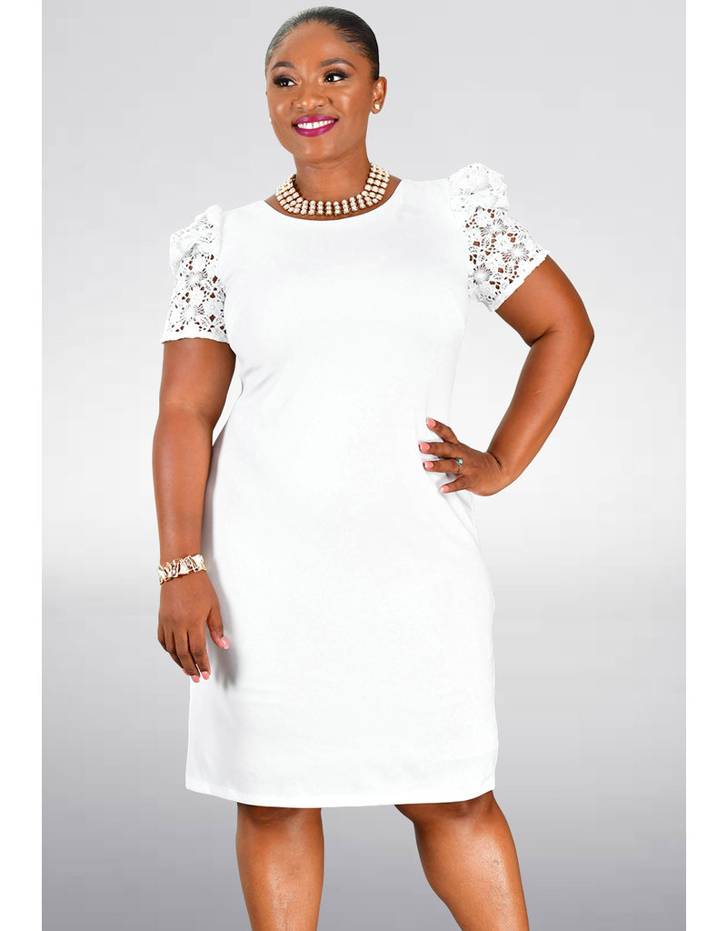 Shelby & Palmer RANNI- Sheath Dress with Lace Puffed Sleeves