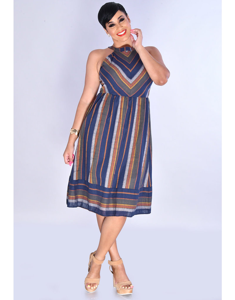Blu Pepper KEILANI- Hi-Neck Striped Fit & Flare Dress