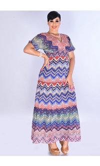 FARZANA- Printed Maxi V-neck Dress