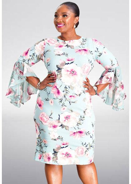 Shelby & Palmer REMA- Floral Three Quarter Sleeve Dress