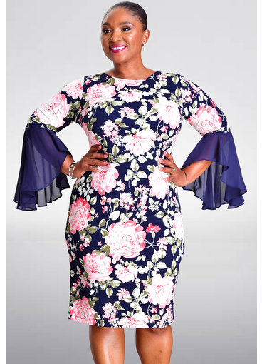 Shelby & Palmer ROSSIE- Floral Print Dress with Full Sleeves