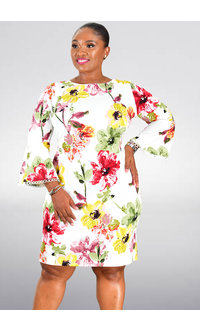 RIDLENA-Floral Round Neck 3/4 Sleeve Dress