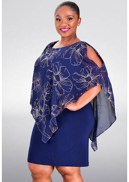 INDRELI- Printed Capelet Dress