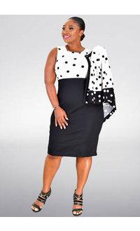 BAY- Polka Dot 3/4 Sleeve Jacket Dress