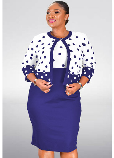 BAY- Plus Size Polka Dot 3/4 Sleeve Jacket Dress