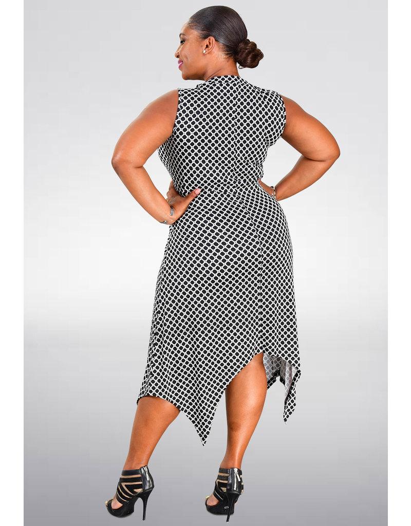 Nina Leonard IRIMA- Printed Handkerchief Bottom Dress