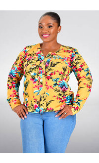 Jessica Rose VONI- Print V-Neck Top with Zip
