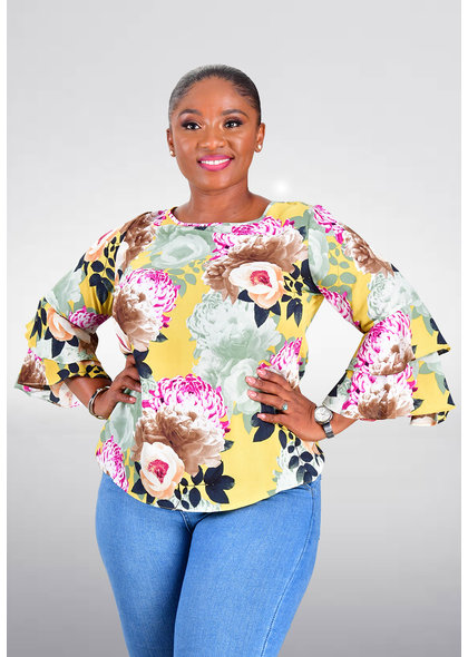 Jessica Rose VALLA- Chiffon 3/4 Sleeve Floral Top