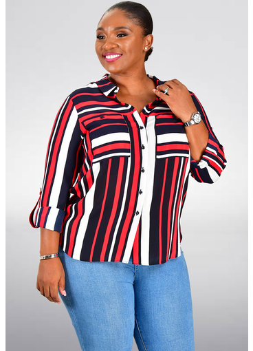 Jessica Rose VANDA- Striped Chiffon Top with 2 Pockets
