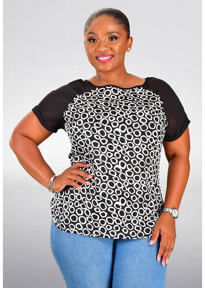 VERNICE- Satin Top with Circle Print