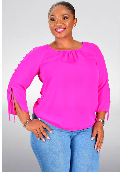 Jessica Rose VERTIE- Solid Round Neck Top with 3/4 Sleeve