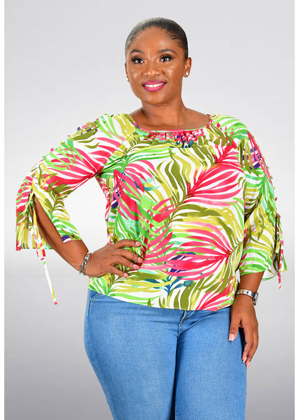 Jessica Rose VERTIE- Printed Round Neck 3/4 Sleeve Top